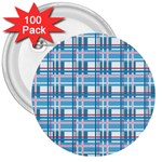 Blue plaid pattern 3  Buttons (100 pack)