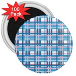 Blue plaid pattern 3  Magnets (100 pack)