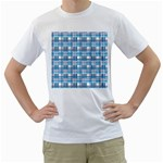 Blue plaid pattern Men s T-Shirt (White) (Two Sided)