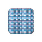 Blue plaid pattern Rubber Square Coaster (4 pack)