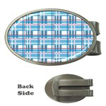 Blue plaid pattern Money Clips (Oval)