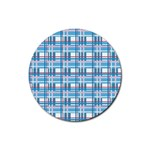 Blue plaid pattern Rubber Coaster (Round)