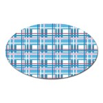 Blue plaid pattern Oval Magnet
