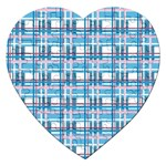 Blue plaid pattern Jigsaw Puzzle (Heart)