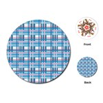 Blue plaid pattern Playing Cards (Round)