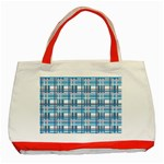 Blue plaid pattern Classic Tote Bag (Red)
