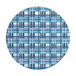 Blue plaid pattern Round Ornament (Two Sides)