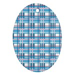 Blue plaid pattern Oval Ornament (Two Sides)