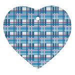 Blue plaid pattern Heart Ornament (2 Sides)