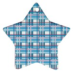 Blue plaid pattern Star Ornament (Two Sides)