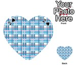 Blue plaid pattern Playing Cards 54 (Heart)