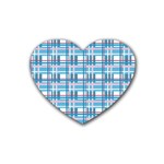 Blue plaid pattern Rubber Coaster (Heart)