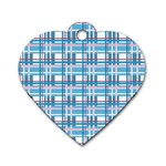 Blue plaid pattern Dog Tag Heart (Two Sides)