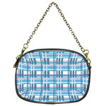 Blue plaid pattern Chain Purses (One Side)