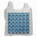 Blue plaid pattern Recycle Bag (Two Side)