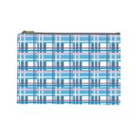 Blue plaid pattern Cosmetic Bag (Large)