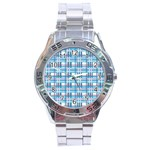 Blue plaid pattern Stainless Steel Analogue Watch