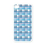 Blue plaid pattern Apple iPhone 4 Case (White)