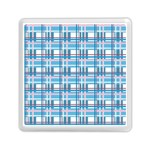 Blue plaid pattern Memory Card Reader (Square)