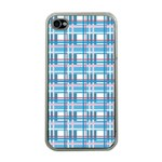 Blue plaid pattern Apple iPhone 4 Case (Clear)