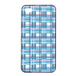 Blue plaid pattern Apple iPhone 4/4s Seamless Case (Black)