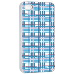 Blue plaid pattern Apple iPhone 4/4s Seamless Case (White)