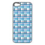 Blue plaid pattern Apple iPhone 5 Case (Silver)