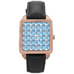 Blue plaid pattern Rose Gold Leather Watch