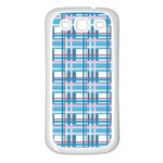Blue plaid pattern Samsung Galaxy S3 Back Case (White)