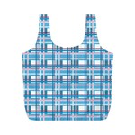 Blue plaid pattern Full Print Recycle Bags (M)
