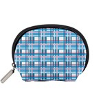 Blue plaid pattern Accessory Pouches (Small)