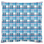 Blue plaid pattern Large Flano Cushion Case (Two Sides)