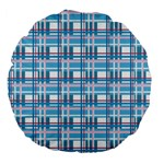 Blue plaid pattern Large 18  Premium Flano Round Cushions