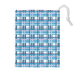 Blue plaid pattern Drawstring Pouches (Extra Large)