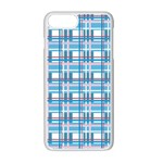 Blue plaid pattern Apple iPhone 7 Plus White Seamless Case