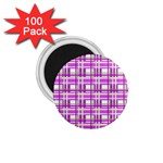 Purple plaid pattern 1.75  Magnets (100 pack)