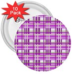 Purple plaid pattern 3  Buttons (10 pack)