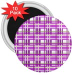 Purple plaid pattern 3  Magnets (10 pack)
