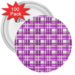 Purple plaid pattern 3  Buttons (100 pack)
