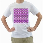 Purple plaid pattern Men s T-Shirt (White) (Two Sided)