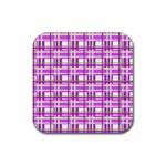 Purple plaid pattern Rubber Square Coaster (4 pack)