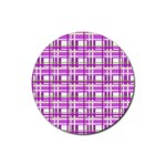 Purple plaid pattern Rubber Round Coaster (4 pack)