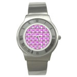 Purple plaid pattern Stainless Steel Watch
