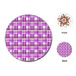 Purple plaid pattern Playing Cards (Round)