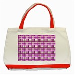 Purple plaid pattern Classic Tote Bag (Red)