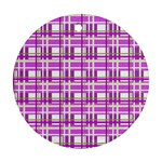 Purple plaid pattern Round Ornament (Two Sides)
