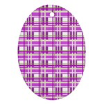 Purple plaid pattern Oval Ornament (Two Sides)