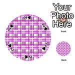 Purple plaid pattern Playing Cards 54 (Round)