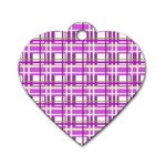 Purple plaid pattern Dog Tag Heart (Two Sides)