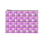 Purple plaid pattern Cosmetic Bag (Large)